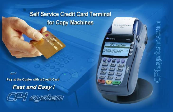 unattended credit card terminal for copiers self service system